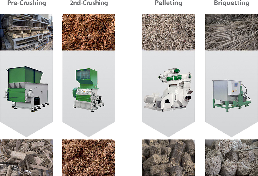 Creating biomass using virtus products equipment